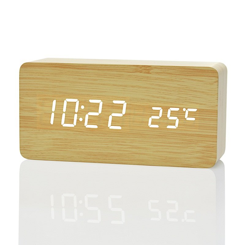 LED wooden alarm clock image