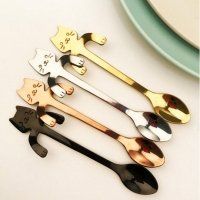 Coffee tea cats spoon