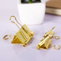 Gold metal binder clips