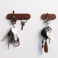 Magnetic wooden key hooks