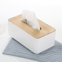 Tissue wooden box dispenser