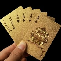 Golden plastic poker cards