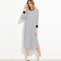Striped contrast drop shoulder dress