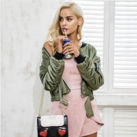 Women army bomber jacket