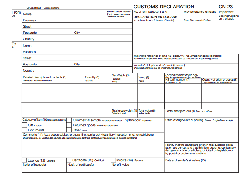 Online customs Declaration form (CN23)
